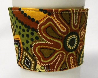 Coffee Cozy, Cup Sleeve, Eco Friendly, Slip-on, Teacher Appreciation, Co-Worker Gift, Bulk Discount: Green and Gold Beaded Floral