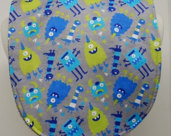 Youth/Junior Unisex Bib, Special Needs, Cerebral Palsy, Drooling, Epilepsy, Seizure, 14-inch neck opening:  Blue and Green Monsters on Gray