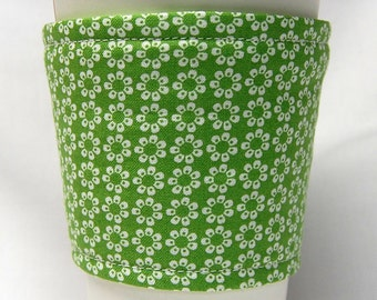 Coffee Cozy, Cup Sleeve, Eco Friendly, Slip-on, Teacher Appreciation, Co-Worker Gift, Bulk Discount: Small White Flowers on Green