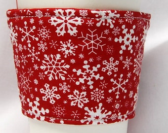 Christmas - Coffee Cozy, Cup Sleeve, Eco Friendly, Slip-on,Teacher Appreciation, Co-Worker Gift:  Snowflakes on Red