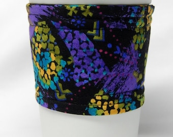Clearance - Coffee Cozy, Cup Sleeve, Eco Friendly, Slip-on, Teacher Appreciation, Co-Worker Gift:  Mod Paisley Purple/Green/Yellow-Black