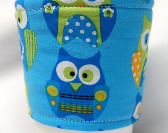 Coffee Cozy, Cup Sleeve, Eco Friendly, Slip-on, Teacher Appreciation, Co-Worker Gift, Bulk Discount: Owls on Blue