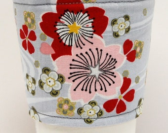 Coffee Cozy, Cup Sleeve, Eco Friendly, Teacher Appreciation, Co-Worker Gift, Slip-on, Bulk Discount:   Pink and Red Cherry Blossoms on Gray