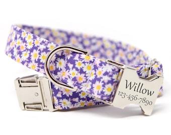 Purple Personalized Dog Collar | Engraved Collar | Purple floral Collar | Purple Pop Daisy