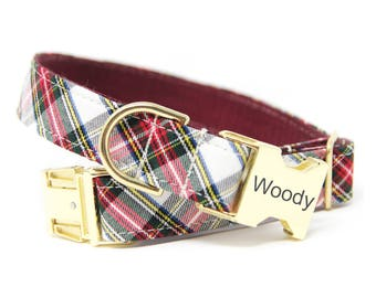 Personalized plaid Dog Collar, Tartan Collar, Red and Green Tartan Collar, The Westwood