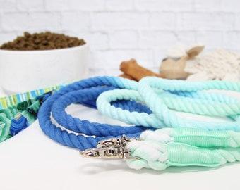 Cotton Ombre Rope Leash | Nautical Dog Leash | Rope Dog Leash | Leash for Wedding | Blue Rope Leash