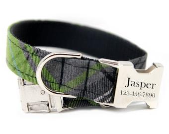 Tartan Dog Collar, Green Tartan Plaid, Engravable buckle