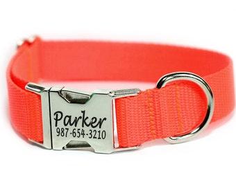 Hunting Dog Collar, Personalized Collar, Laser Engraved Dog Collar, Bright Neon Orange Dog Collar
