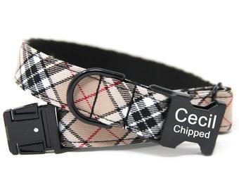 Custom Plaid Dog Collar | Personalized Dog Collar | Beige Plaid Dog Collar | Black and Tan Collar
