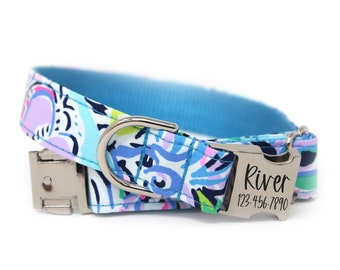Personalized Dog Collar | Blue Pink Engraved Collar | Floral Dog Collar | Caribbean Dream