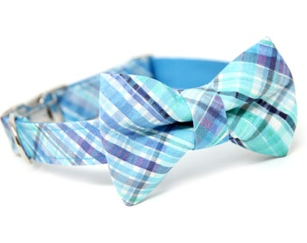Cool Blue Plaid Bow tie Dog Collar, Personalized Bow Tie Collar