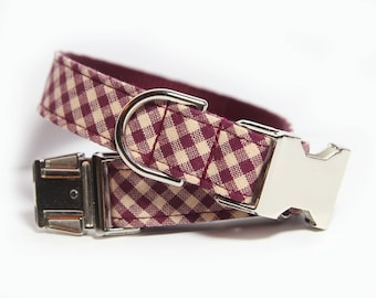 Dog Collar Personalized, Red Plaid Collar, Buffalo Plaid, Plaid Dog Collar, Maroon Bias Plaid