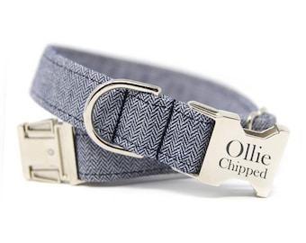 Herringbone Dog Collar, Engraved Herringbone Dog Collar, Personalized Dog Collar-Navy Herringbone
