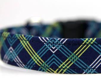 Blue Yellow Personalized Plaid dog collar- The Adirondack