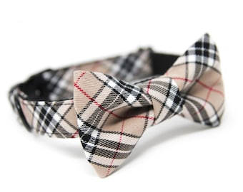 Black and Tan Bow tie Dog Collar, Personalized Bow Tie Collar option, Black and Tan Plaid