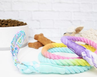 Cotton Ombre Rope Leash | Pink Rope Dog Leash | Rainbow Dog Leash | Leash for Wedding | Rainbow Rope Leash