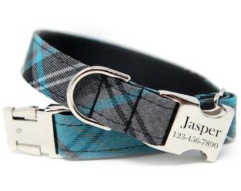 Personalized Taran Dog Collar | Turquoise Tartan Plaid