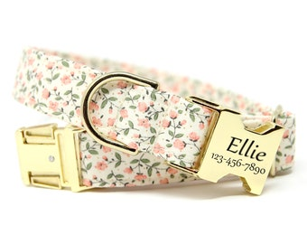 Floral Dog Collar, Engraved Collar, Personalized, HolliBloom