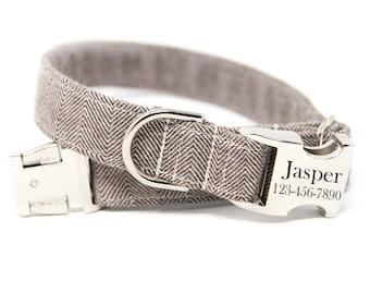 Herringbone Dog Collar, Engraved Herringbone Dog Collar, Personalized Dog Collar-Taupe Herringbone