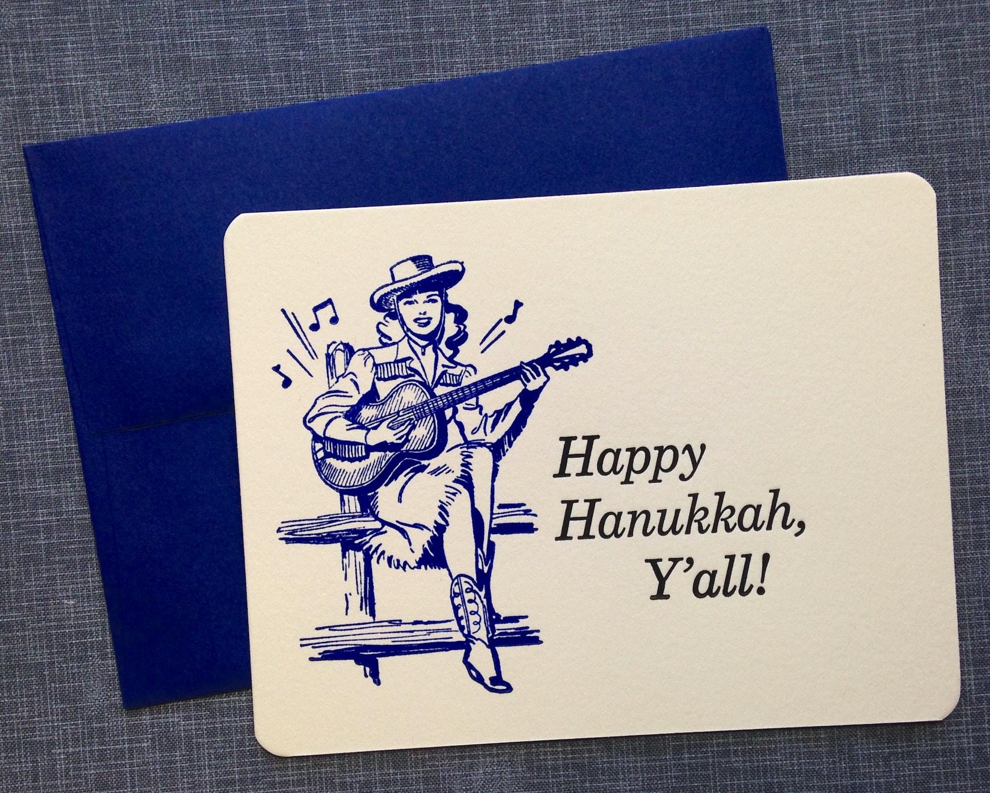 Letterpress Hanukkah Card And Envelope Singing Cowgirl