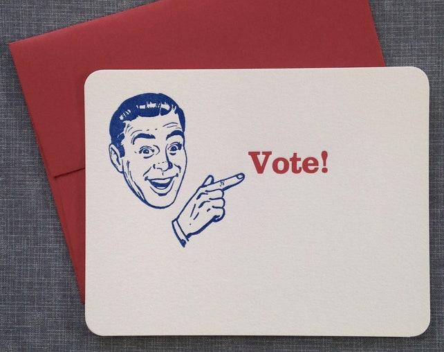 Letterpress Card and Envelope - Vote! - Single Flat Letterpress Card