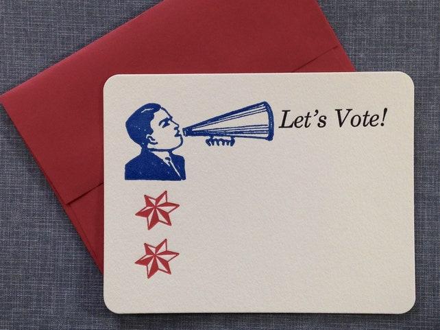 Letterpress Card and Envelope - Let's Vote! - Single Flat Letterpress Card