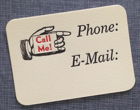 Letterpress calling card call me letterpress phone card etsy image 0 colourmoves