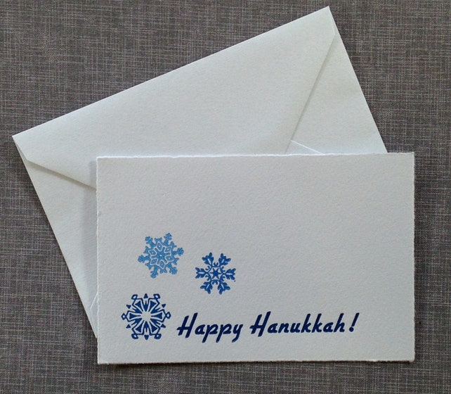 Letterpress Hanukkah Card and Envelope - Snowflakes - Single Flat Letterpress Card
