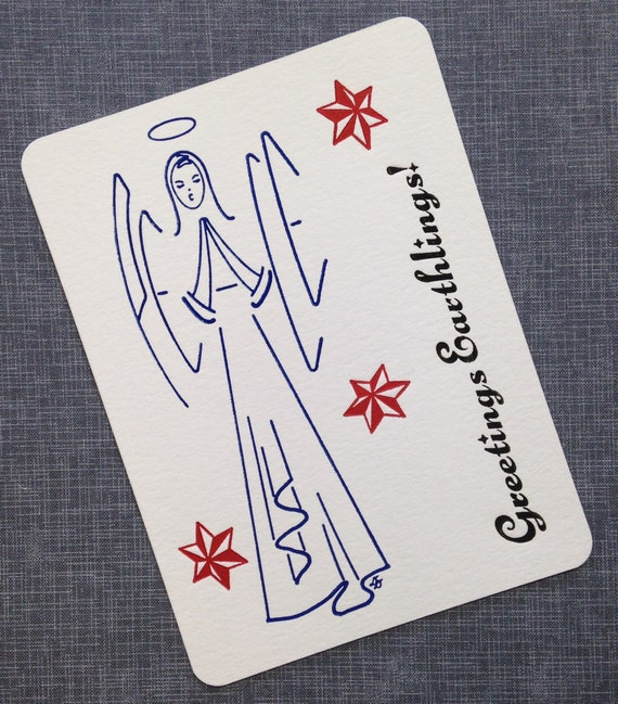 Letterpress Christmas Cards.Letterpress Christmas Card And Envelope Peace Angel Single Flat Letterpress Card