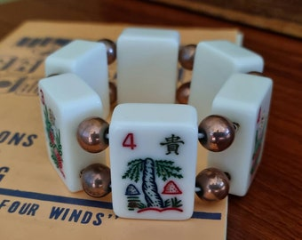 Mahjong bracelet / ivory color tiles / round gold beads / to fit smaller wrists / stretch bracelet / FREE SHIPPING