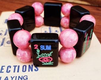 Mahjong bracelet / jet black glossy tiles pastel paint / round peach swirl beads / to fit larger wrists / stretch bracelet / FREE SHIPPING