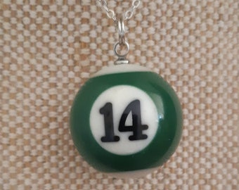 Miniature pool ball necklace / stainless steel chain / choose your number