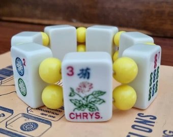 Mahjong bracelet / cream tiles/flower tile yellow beads / to fit small to average wrists / stretch bracelet / FREE SHIPPING