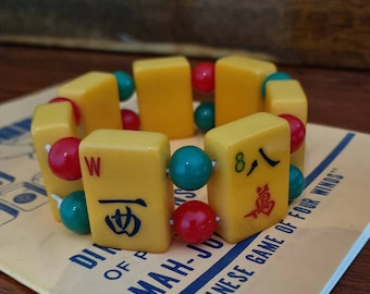 Mahjong bracelet / egg yolk yellow bakelite tiles / round red and green beads / to fit larger wrists / stretch bracelet / FREE SHIPPING