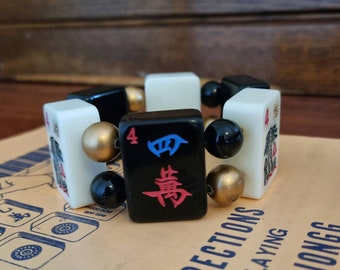 Mahjong bracelet / black and white alternate 4 tiles/ black gold beads / to fit small to average wrists / stretch bracelet / FREE SHIPPING