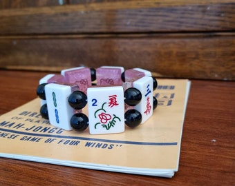 Mahjong bracelet reversible/ small Hello Kitty pink glitter resin tiles / black acrylic beads / FREE SHIPPING/ fits adult larger size wrists