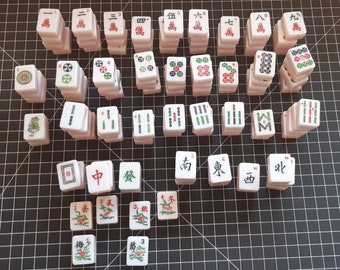 Pink backed rounded corner mahjong tiles for replacement or craft / orphan mahjong tiles / choose your tiles