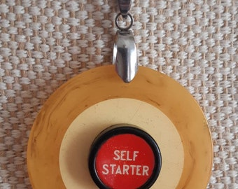 Vintage inlaid bakelite poker chip pendant with red self starter typewriter key / stainless steel bail and chain FREE SHIPPING