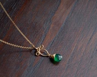 drop necklace Copper German silver pendant elegant jewelry chalcedony
