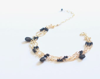 Sparkly Black Spinel Three Strand Gold Bracelet,  Black Stone Bracelet, Black and Gold Bracelet, Christmas Gift For Her