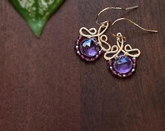 Petite Amethyst and Garnet Gold Earrings, February Birthstone Short Dangles, January Birthstone, Gift Idea For her