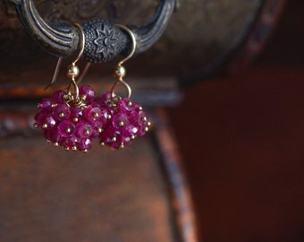 Pink Sapphires and Gold Filled Earrings, Hot Pink Gemstone Earrings, Sapphire Cluster Earrings, Pom Pom Earrings