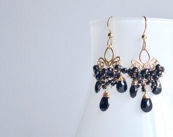 Sparkly Black Spinel and  Gold Earrings, Black Gemstone Cluster Earrings, Christmas Gift For Her