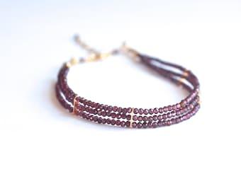 Lauren - Garnet, 14k Gold Filled, Three Strand Bracelet