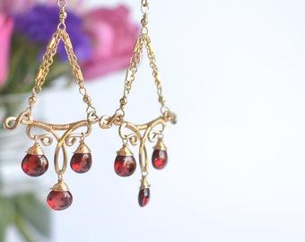 Gold Garnet Chandelier Earrings || 14k Gold Filled Chandelier Earrings || Red Garnet Earrings