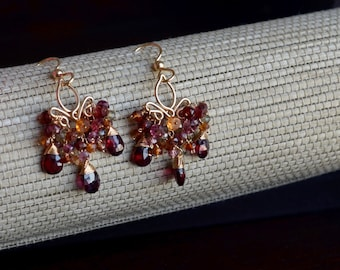 Multi-Colored Sapphires and Red Garnets Gold Earrings, Multi Colored Sapphire Cluster Earrings