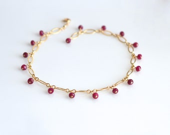 Ruby Stacking Bracelet, Ruby Birthstone Bracelet, Ruby and Gold Bracelet, July Birthstone, July Birthday Gift,   Mother's Day gift for her