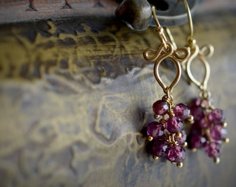 Rhodolite Garnet And Gold Earrings, January Birthday Gift For Her, January Birthstone, Mother's Day Gift Idea