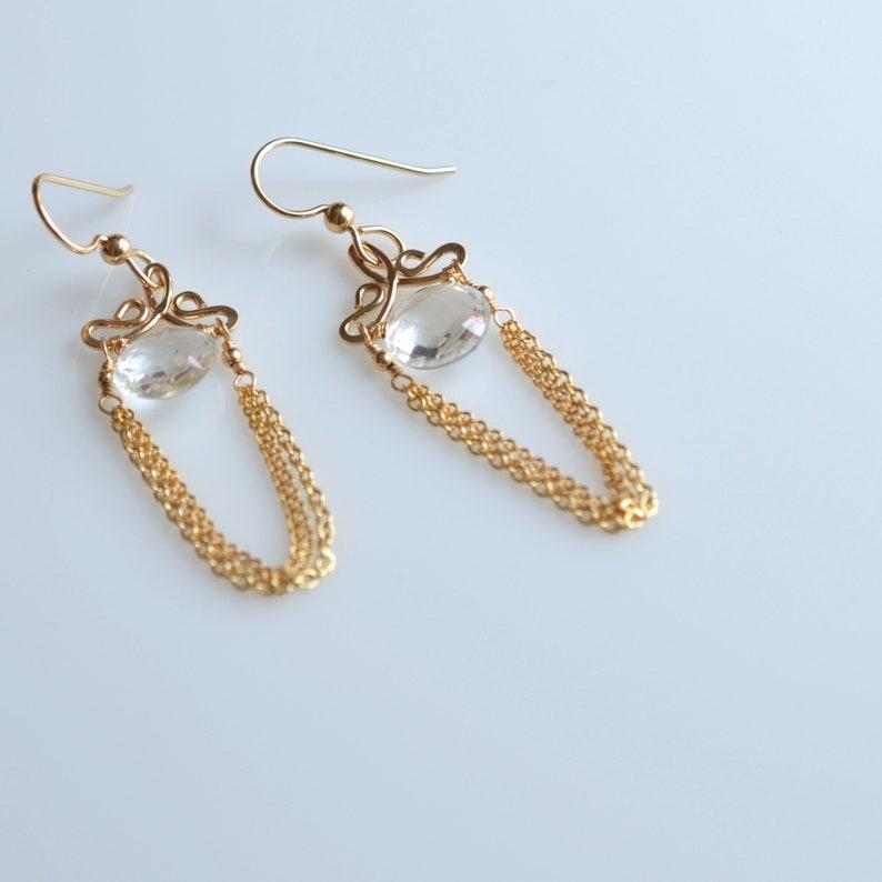 Crystal Quartz 14k Gold Filled Earrings Talia