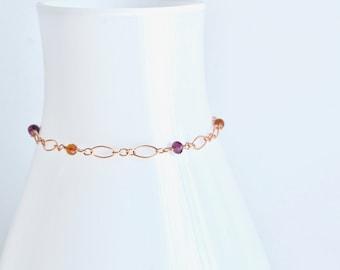 Orange and Pink Garnets Rose Gold Bracelet, January Birthstone Bracelet, Capricorn Birthstone, January Birthday Gift Idea For Her
